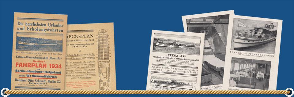 """Unsere historischen Schiffe """"Kreuz As"""" und """"Nostalgie"""" stammen noch aus der ersten Hälfte des 20. Jahrhunderts."""